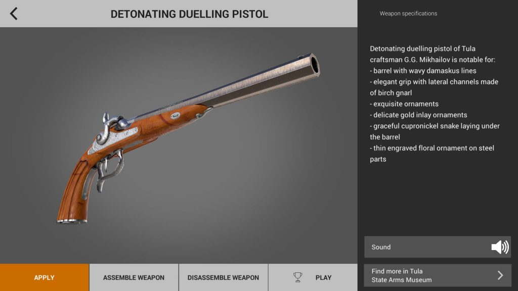 Dueling pistol in weapons of heroes gun game